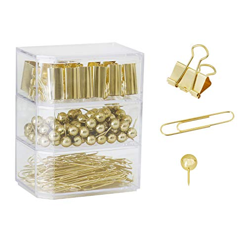 182pcs Binder Paper Clips Set,Paper Clamp Clips,Desk Accessory Gold, Push Pins,Paper Clips, Binder Clips, Three Stacked Boxes (Gold), Organize Your Papers, Documents and Desk Easily