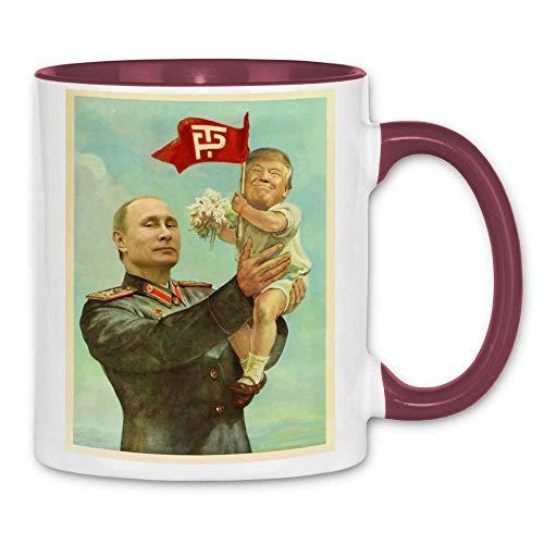 wowshirt Tasse Trump Putin USSR Sowjetunion CCCP, Farbe:White - Bordeaux