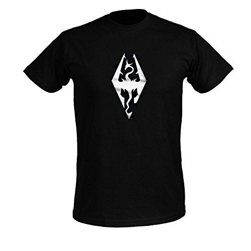 The Elder Scrolls Skyrim T-Shirt Dragon Symbol zum Spiel schwarz Baumwolle - L