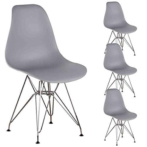 N A MUEBLES Home - Set di 4 sedie da pranzo in stile retrò, stile retrò, con gambe in metallo, per sala da pranzo, camera da letto, soggiorno, colore: grigio