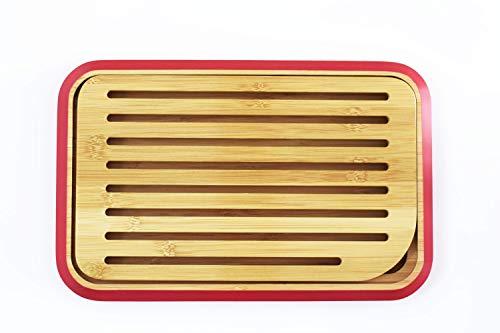 Pebbly NBA038 - Pequeña Tabla de Pan de Mesa bambú, 28x 18cm, Color Naranja
