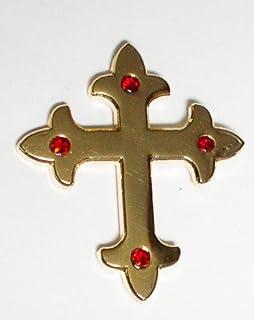 Spilla in metallo smaltato con croce gotica pagana celtica (oro)