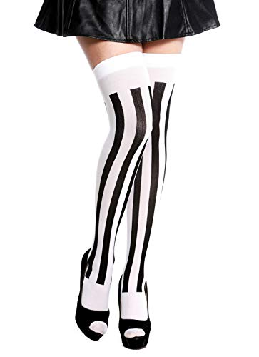 dressmeup K0811-black&White Strümpfe Damenstrümpfe Overknees Halloween Karneval vertikal gestreift Schwarz Weiß
