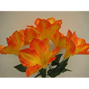 16″ Inch Bouquet 2 Bushes Orange Amaryllis Artificial Silk Flowers