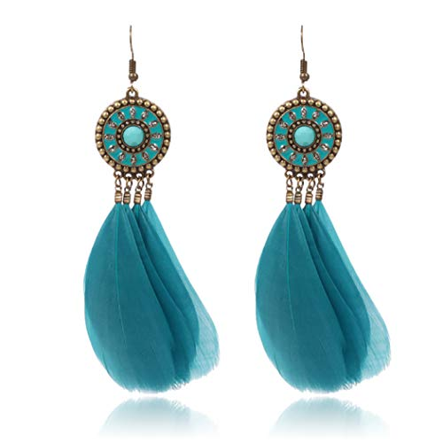 Bohend Pendientes bohemios de plumas turquesas, pendientes largos de oro, bohemia, viajes, playa, abalorios, cadena para orejas para mujeres y niñas (azul)
