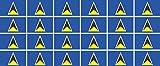 Mini banderas Conjunto de lisa - 33x20mm - autoadhesivo - St Lucia - autoadhesivo -Bandera de la etiqueta engomada - oficina, coche, casa y para la escuela - 24 piezas