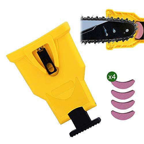 JEEZAO Zahnschärfer Kettensägenschärfer für Holzbearbeitung, Rasenmäher,Kettensäge, Kettenschärfgerät, Selbstschärfend, mit 4 Stück Schnell Schleifstein (Gelb)