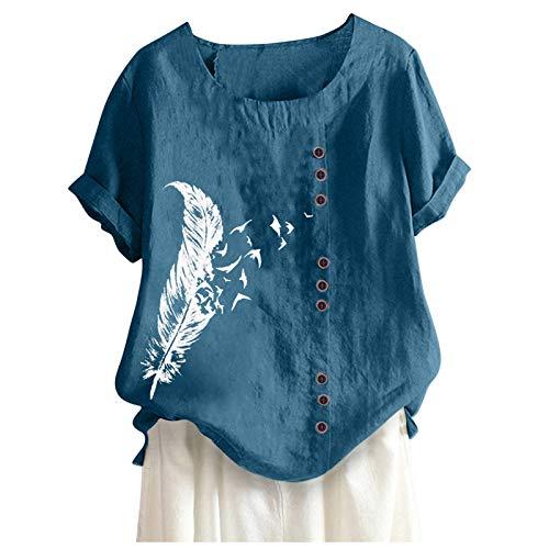 Damen Bluse Oversize Kurzarm Leinenbluse Elegant Blumen Shirt Bluse Leinen V-Ausschnitt Longshirt Oberteile Tunika Comic-Bilder Lose Lang Tops