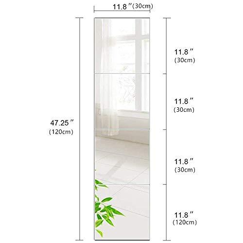 AUFHELLEN Wandspiegel 4 Stücke 30x30cm aus Glas Spiegel HD DIY Rahmenlos Spiegelfliesen an der Tür für Bad- oder Wohnzimmer (30x30cm, 4PCS)
