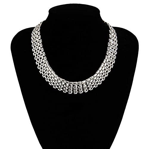 LKHJ Collar de Cadena Gruesa Gruesa Mujeres Grande Hierro Metal Color Plateado Collar Cuello joyería Steampunk Hombres