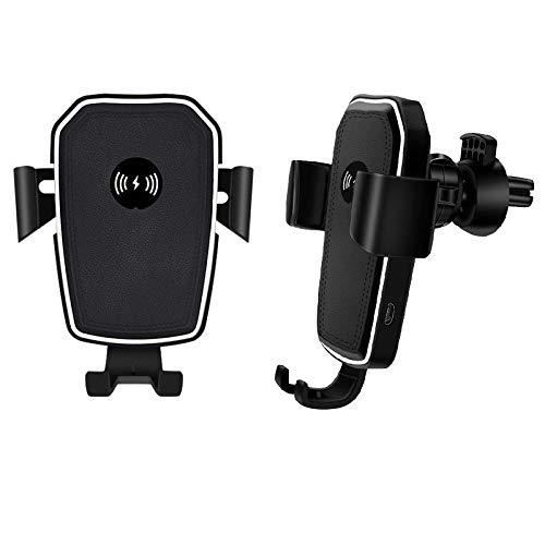 XKMY Accesorios para interiores WIS 10 W 2 en 1 Qi inalámbrico de carga rápida para coche, soporte de salida de aire (color: negro)