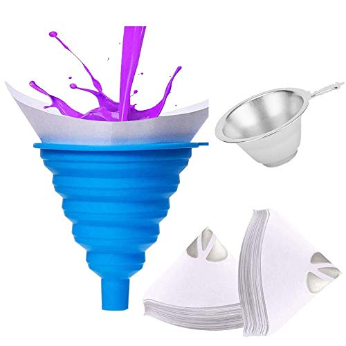 Paint Sprayer Filter Strainer Set, 1 Cone Silicone Funnel Filter Tip, 100pcs Paper Funnels and 1 Fine Nylon Mesh Funnel with Hook