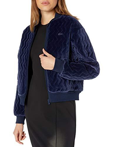 Lacoste Womens Long Sleeve Velvet Pique Bomber Jacket Jacket, Navy Blue, 12