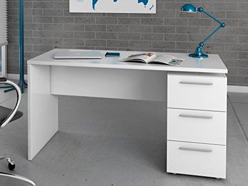 HABITMOBEL Mesa Escritorio, Mesa de Despacho 3 cajones, Color Blanco Satinado, Medidas: 74 x 138 x 60 cm de Fondo