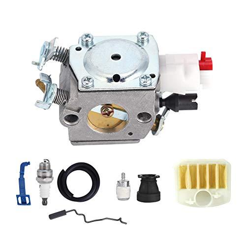 Ladieshow Carburador Juego de bujías de aleación de Aluminio Carburador de jardinería Motosierra Pieza de Repuesto para Husqvarna 350 346XP 353340345 Herramienta de jardinería