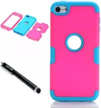iPod Touch 6th Generation Case,Lantier 3 Layers Verge Hybrid Soft Silicone Hard PC Plastic TUFF Triple Quakeproof Drop Resistance Protective Case Cover with Stylus Palm Hot Pink/Blue