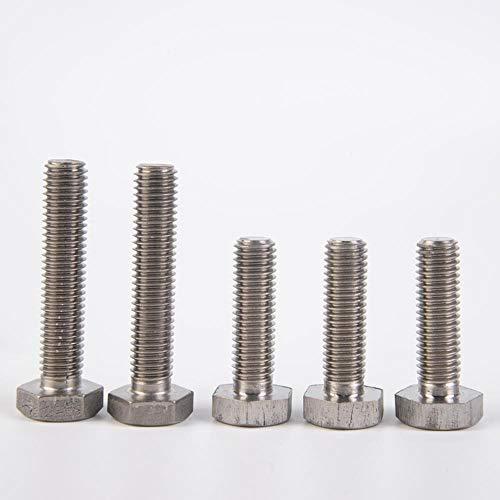 M6 / 8/10/12/14/16 x 10-100 mm Longitud de rosca TA2 GR2 Ti Tornillos de cabeza hexagonal de titanio Corrosión antiácida, 20 mm, M6