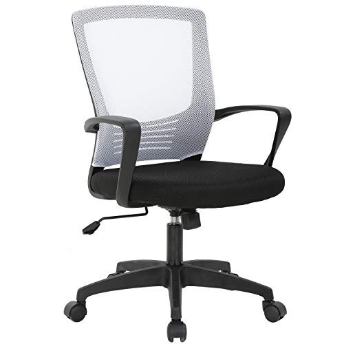 Ergonomic Office Chair Cheap Desk Chair Mesh Computer Chair Rolling Swivel Modern Executive Chair Adjustable Stool Back Support for Women&Men, White