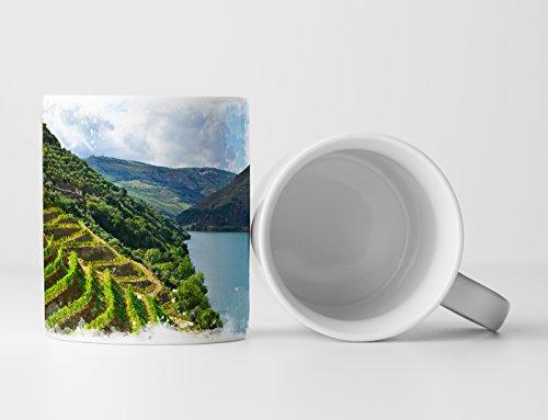 Eau Zone fotokunst mok cadeau landschapsfotografie – wijnbergen aan de Douro Rivier Portugal