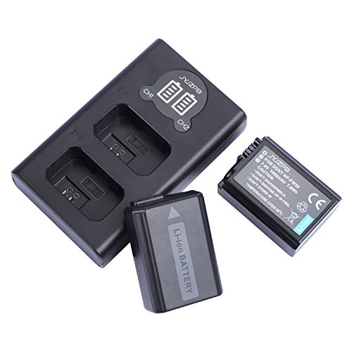 JYJZPB NP-FW50 Replacement Battery (2 Pack) and Smart Charger Set for Sony A6000 A6400 A6500 A7 A7II A7RII A7SII A7S A7S2 A7R A7R2 A55 A5100 RX10