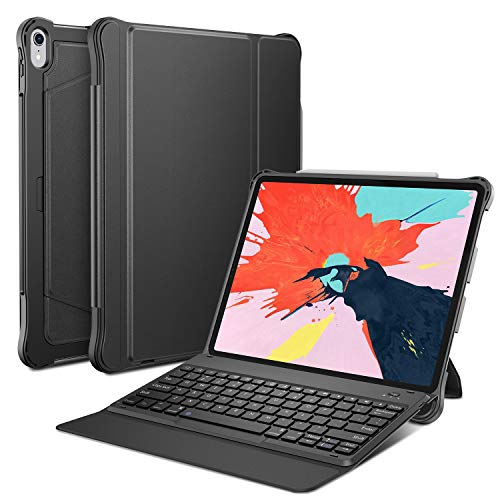 OMOTON Detachable Keyboard Case for iPad Pro 12.9 Inch(2018 Released), Ultra-thin Bluetooth Keyboard Case with Built-in Stand and Pencil Holder, Lightweight, Black