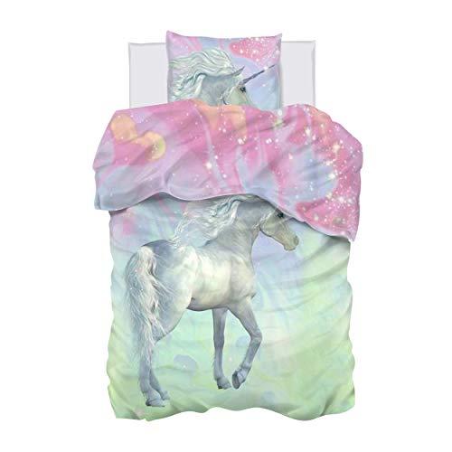 Aminata Kids Bettwäsche Einhorn 135-x-200 Mädchen Kinder Baumwolle Jugendliche Teenager - Einhornbettwäsche mit Reißverschluss - Einhorn-Motiv - Kinder-Bettwäsche-Set - Pferde-Motiv, Pferd, rosa
