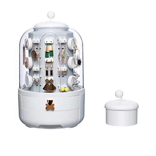 EnweKapu Joyero Transparente, Organizador Joyas, Rotación 360 ° Porta Collares con Cajón Doble, Retirable Guardapolvo, Espacio Separado para Collar, Ahorra Espacio, Ideas Regalo,Blanco,One Floor