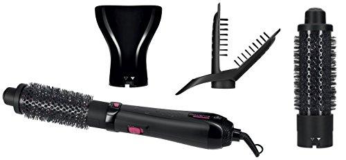 Rowenta CF7812F0 - Cepillo de Aire Caliente 1200W, 3 accesorios para alisar, cepillar y concentrar, golpe de aire frío, revestimiento Keratin & Shine, cable de 1,8 metros, Negro, Rosa