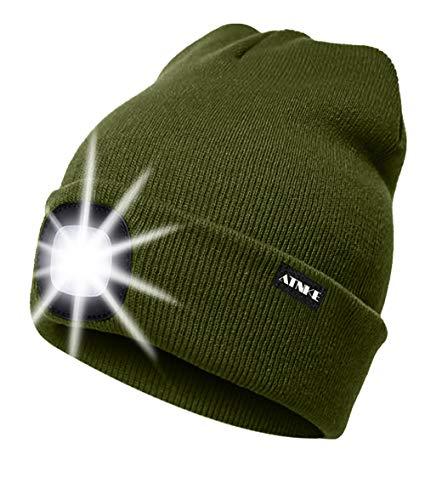 ATNKE LED beleuchtete Mütze, wiederaufladbare USB-Laufmütze mit extrem Heller 4-LED-Lampe und Blinkender Alarmscheinwerfer (Armeegrün, Einheitsgröße)