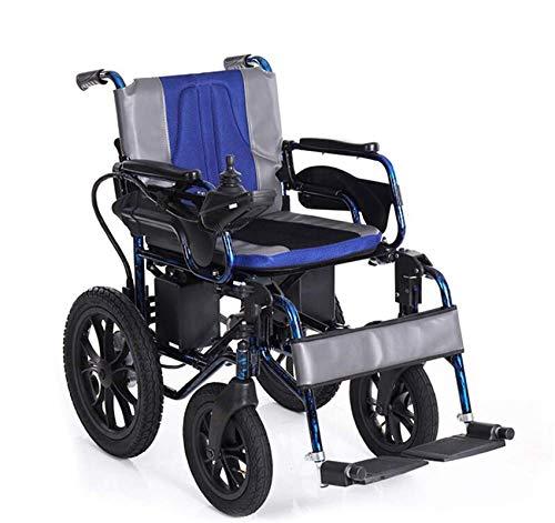 Leichte Elektrische Rollstühle, Leichte Elektro-Rollstuhl Folding Transit Travel Power Wheel Chair Lite Aluminium Carry Motorisierte Attendant Antrieb Rollstuhl Leistungsstarke Dual-Motor, Blau, 12AH