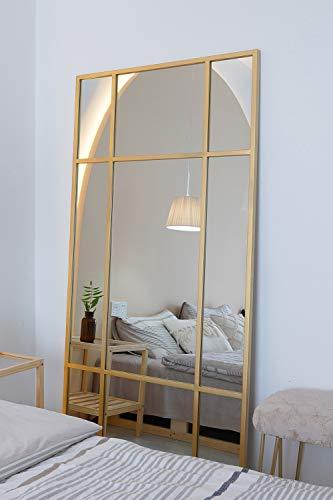 Espejo de Cuerpo Entero Rectangular Dorado [180 x 90 x 3cm] | Diseño danés | Espejo Grande y Largo de pie | Vertical y Horizontal