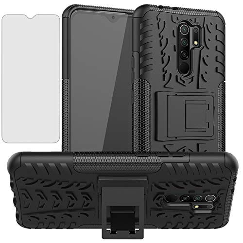 Phone Case for Xiaomi Redmi 9 with Tempered Glass Screen Protector Cover and Stand Kickstand Hard Rugged Hybrid Protective Cell Accessories Xiami Xiomis Xiome Redmi9 Prime Poco M2 Cases Boys Men Black