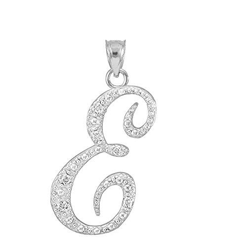 925 Sterling Silver CZ Script Initial Letter E Charm Pendant with CZ