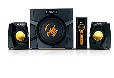 Genius GX Gaming SW-G2.1 3000-70W 2.1 Channel Gaming Speaker System, Wooden Cabinet Subwoofer with Heart-Beating Bass from Genius