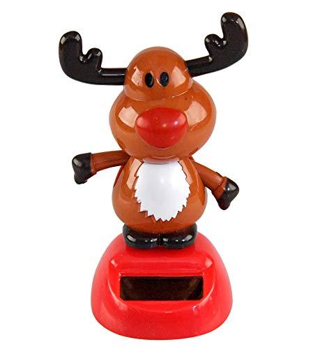 """Home-X Solar-Power Dancing Reindeer Figure, Office Décor 4"""" Tall"""