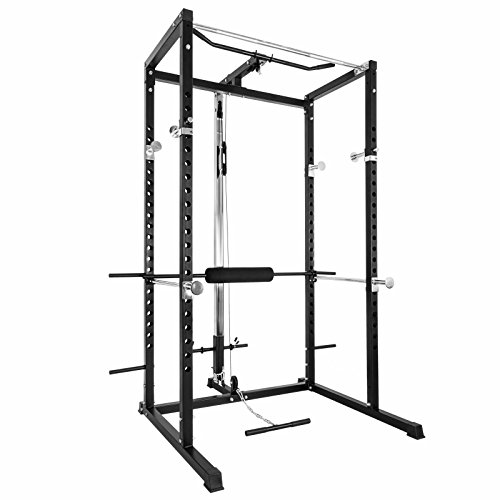 Happibuy Power Rack Fitnes Strength Training Squat Rack Cage Bench Power Rack Cage Adjustable Bar for Fitness Muscle Building (HRWR57B)