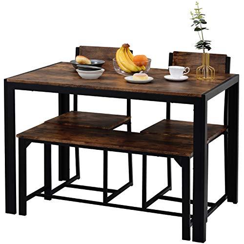 belupai Mesa de comedor y sillas, banco Set de estilo industrial retro de la cocina de comedor conjunto de mesa (marrón rustico)
