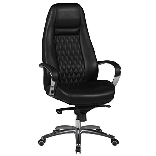 Amstyle Austin Bureaustoel, echt leer, XXL, bekleding, managersstoel, hoge rugleuning met hoofdsteun, design, draaistoel, wieltjes voor harde vloeren, in hoogte verstelbaar, kantelfunctie, hoogzwart