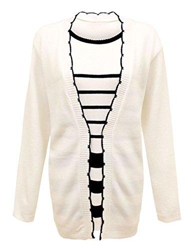 Islander Fashions Womens Streifen Twin Set Cardigan Damen Pullover eingef�gt Strickjacke Jumper White 2XL Large EU 48-50