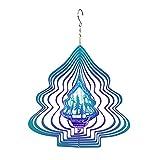 wojonifuiliy-Weihnachts Windspiele für Draußen Metall Hängend - Schneeflocke Windspiele 3D Spiegel Gartendeko Geschenkidee Rotierende Anhänger Außendekoration Kreative Wind-Chimes Outdoor