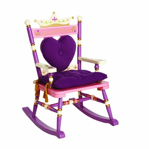 Wildkin Kids Princess Royal Rocking Chair for Boys and Girls, Perfect for Big Kids and Little Kids, Includes Padded Backrest and Seat Cushion, Purple and Pink Wooden Rocker Measures 23x16x28 Inches