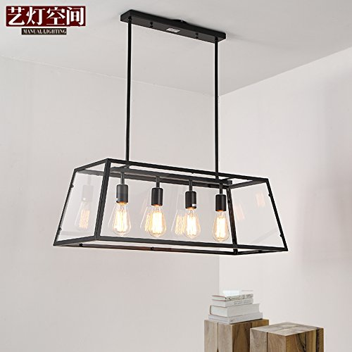 ShengYe style rustique plafonnier lampe Suspension Lustre Retro Loft art fer boîte de verre rectangulaire lustre bar salon est le café en verre de Murano,780*h280mm