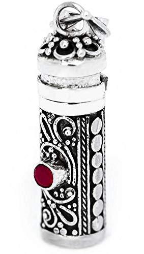 Windalf Vintage Bohemia Medaillon-Anhänger ALYA 3.8 cm Parfüm Fläschchen Medaillon mit Granat Handgearbeitet 925 Sterlingsilber