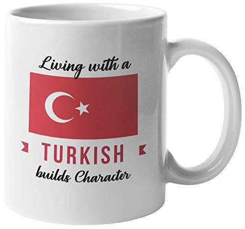 Vivir con un carácter turco construye. Taza de regalo de café y té de Turquía para todos los habitantes de Turquía, amigos de la familia, extranjeros, visitantes, familiares, conocidos, turistas, homb