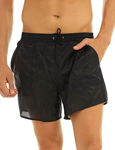 YOOJIA Herren Shorts Transparent Kurz Badehose Schwimmhose Bikinihose mit Netz Slips Sommer Strand Badeshorts Casual Shorts Bademode Schwarz XL