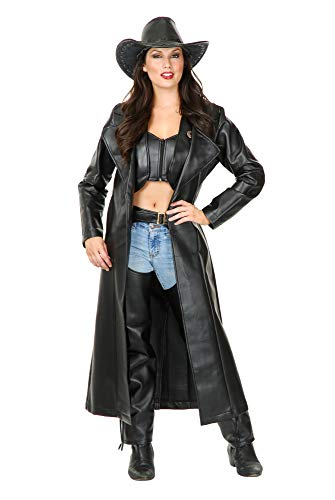 Charades Women's Ladies Faux-Leather Duster, Black, Medium