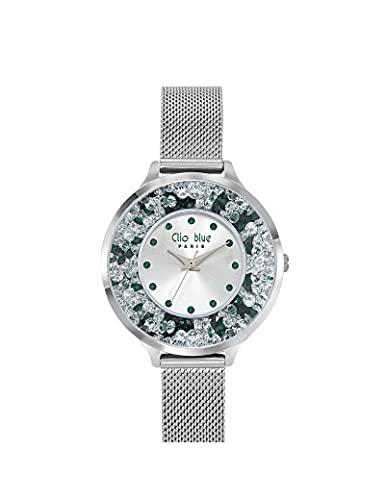 Reloj Clio Blue de malla Milanesa para mujer, color plateado