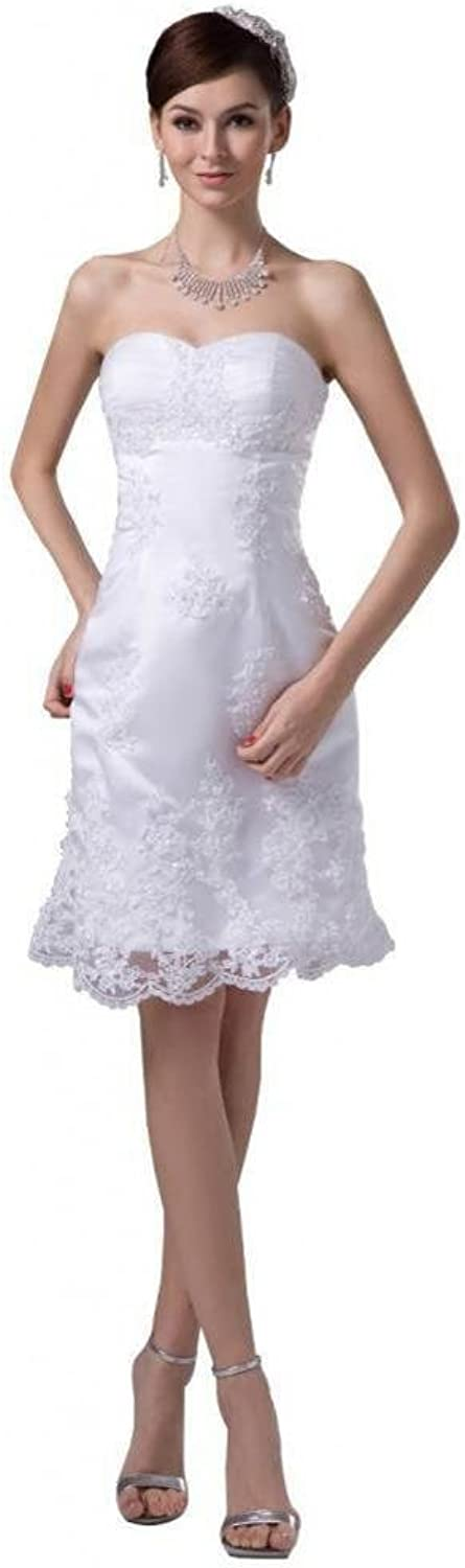 Dearta Women's Sheath Column Sweetheart KneeLength Tulle Wedding Dresses