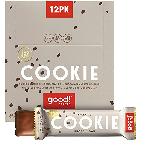 good! Snacks Vegan Protein Bars, Cookie Dough Bar, Gluten-Free, Plant Based, Low Sugar, High Protein Meal Replacement Bar, Guilt-Free & Nutritious Healthy Snacks for Energy, 15g Protein, Kosher, Soy Free, Non Dairy, Non GMO, Vegetarian (12 Bars)