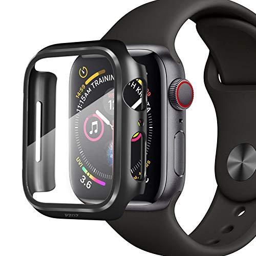 PZOZ Kompatibel mit Apple Watch 44mm Series 5/4 Hülle mit PET Bildschirmschutz, iWatch Sehr stark PC Schutzhülle, All-Aro& Schutz Hülle Smartwatch zubehör(44mm, Schwarz)
